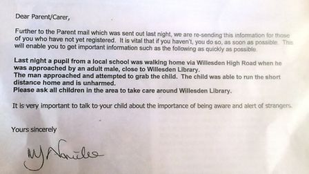 A warning letter has been sent out to parents and carers
