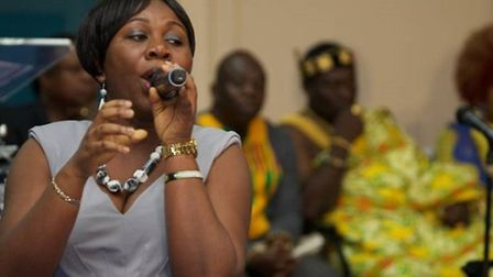 Sister Leticia Kyei Baffour sang songs to celebrate the book launch (Pic: Adam Thomas)
