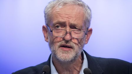 Jeremy Corbyn addresses the TUC conference at the Brighton Centre on Tuesday. Picture: Press Associa