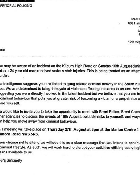 Brent Police sent the gang call-in letter to 24 young men