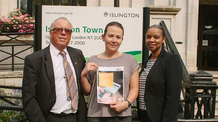Victoria was happy to promote the Direct Debit campaign outside the town hall after she won �25,000.