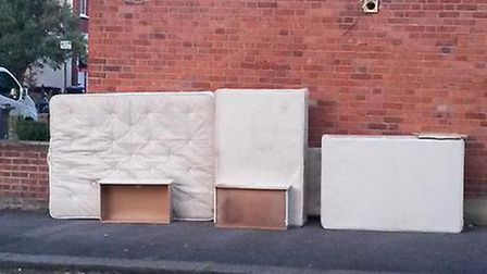 Bedroom furniture dumped on a street in Brent (Pic credit: Twitter@LordBuxton374)
