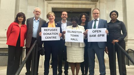 Supporters of the centre include Mr Corbyn, second left; Islington South and Finsbury MP Emily Thorn