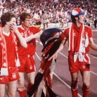 Tony Woodcock (left) after Nottingham Forest's first European Cup triumph against Malmo in 1979