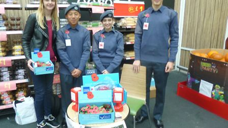 Young volunteers from 78 squadron Air Training Corps launch the poppy appeal at Asda in Wembley Park