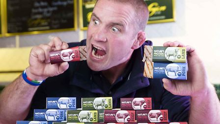 England Rugby World Cup winner Phil Vickery with the protein bars.