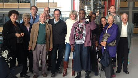 Friends of Barham Library celebrate with champagne as they return to their former building in Harrow