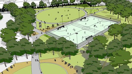 An artist's impression of how Barnard Park would look after redevelopment, including the new footbal
