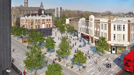 An artist's impression of how Archway town centre will look once the scheme is finished. But some ar