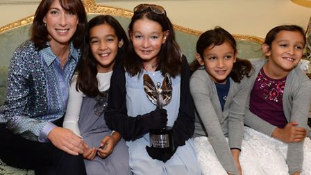 Pride of Britain Winner SOHANA Collins and sisters with Sam Cameron , and at the Downing Street