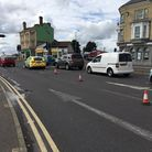 One lane on the Bascule Bridge in Lowestoft was closed following a collision between a car and a cyc