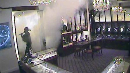 CCTV footage of the raid at Windsor Bishop jewellers in Norwich carried out by Islington smash and g