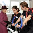 Queen Elizabeth II on a tour of the City and Islington College in 2012.
