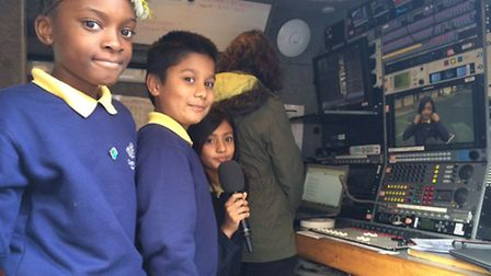 Pupils gained entry into satellite vans for the live feed with Tim Peake