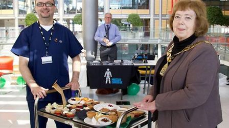 Nurse Grant Cicconne with Mayor of Brent Cllr Lesley Jones MBE at the Macmillan Coffee Morning in Br