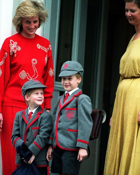 Prince Harry,five years old, joins his brother Prince William, seven, and his mother Princess Diana
