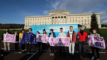 Members of Our Future, Our Choice protest in Northern Ireland. Photograph: Brian Lawless