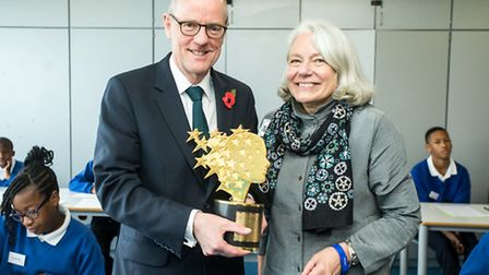 Global Teacher Prize winner Nancie Attwell and Schools Minister Nick Gibb at Capital City Academy in