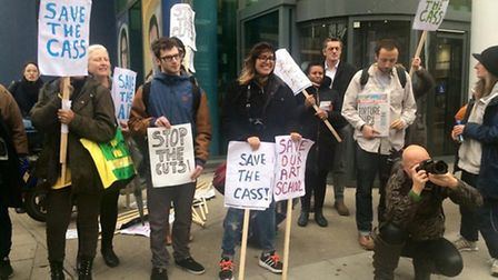 Students protesting outside London Metropolitan University in Holloway Road on Tuesday