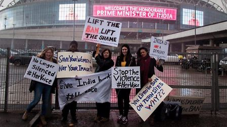 Women protesting about Modi's treatment of females (pic: Francis Henry)