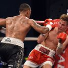 Georgie Kean (right) was defeated by Nathan McIntosh at Harrow Leisure Centre. Pic: Philip Sharkey/T