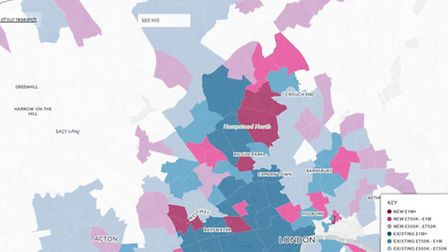 Price changes in north London over the past year. Map created by Savills