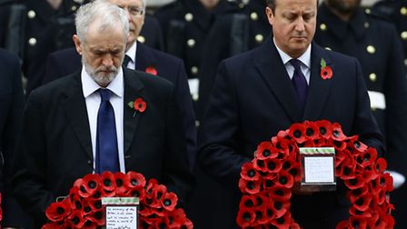 Labour party leader Jeremy Corbyn and Prime Minister David Cameron wait to lay wreaths (Gareth Full