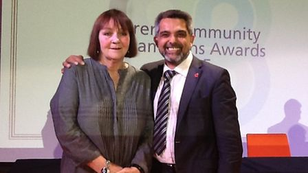 Margaret Bailey, chair of Friends of Kensal Rise Library, with Cllr Muhammed Butt, has been awarded