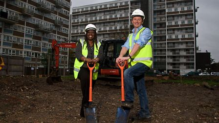 Cllr Margaret McLennan, Lead Member for Housing and Development at Brent Council, with Adrian Denbow