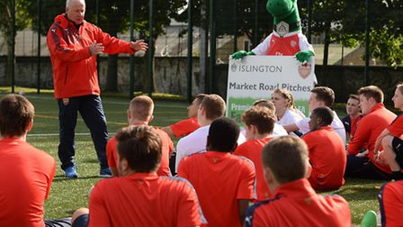 Mr Brady passed on his footballing wisdom to youngsters during coaching sessions at the opening