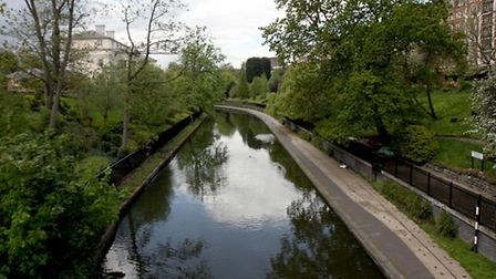 General view of Regent's canal, London.