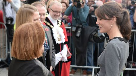 The Duchess of Cambridge meeting dignitaries, including Cllrs Greening and Watts, as she arrives at
