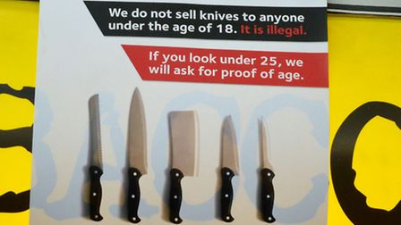 No under-age sales: This poster gives a clear message on knives