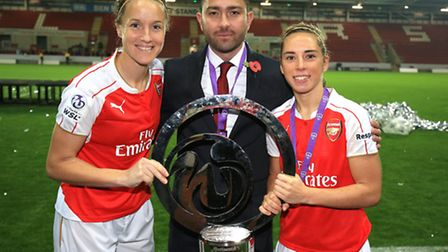 Arsenal Ladies manager Pedro Martinez Losa (centre), captain Casey Stoney (left) and player of the m