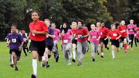 Mossbourne Academy's Felix Waters leads the way in race two of the Islington Schools Running League