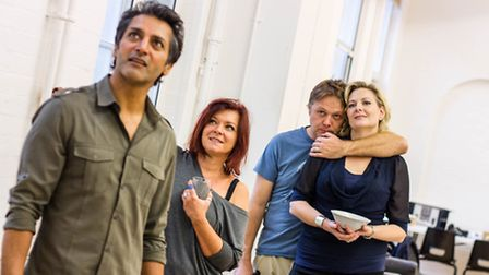 Hari Dhillon, Finty Williams, Shaun Dooley and Sara Stewart in rehearsals for Dinner With Friends.