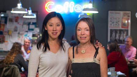 Liz Wong (L) and Caroline Dent (R) at the death caf� at Blighty Coffee