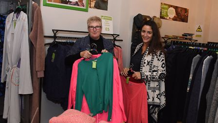 Emmaus Charity Shop in Chapel Market. Store manager Kim Trivett and Ornella Bosquier