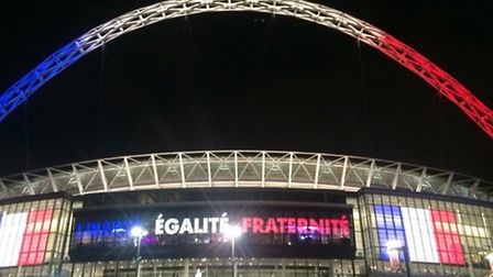Wembley Stadium also displayed the French flag and motto ahead of toinght's match (Pic Credit: @JFXM