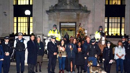 Officers and cadets at the Christmas appeal launch outside Islington Town Hall on Thursday