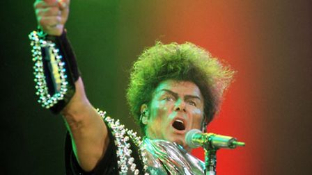 Gary Glitter on stage at the Cardiff International Arena. Picture: Barry Batchelor/PA Archive