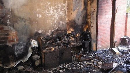 Flames tore through the ground floor and part of the first floor of the home in Kingsbury on Tuesday