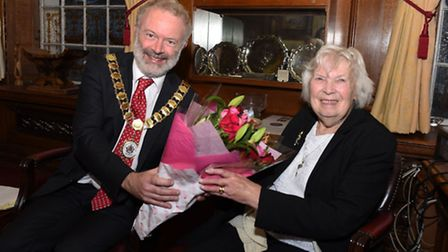 Audrey Bailey celebrating her 90th birthday in the Mayor's Parlour at Islington Town Hall accompanie