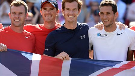 Great Britain's James Ward (far right) with Great Britain captain Leon Smith, Jamie Murray and Andy