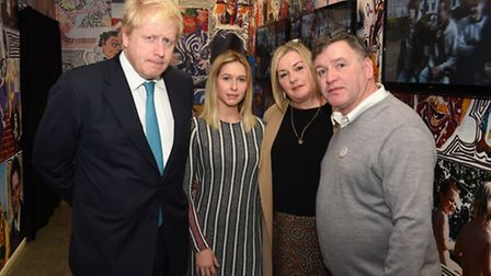 Members of the Ben Kinsella Trust meeting with Boris Johnson at the Finsbury Library to discuss knif