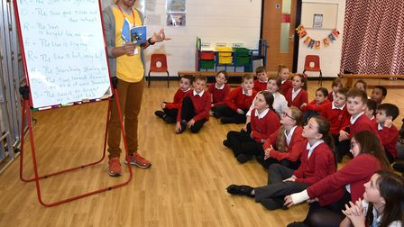 Poet and author Joseph Coelho with pupils at Gunton Primary Academy. Pictures: Mick Howes