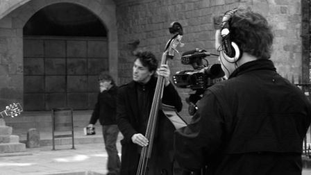 Nick Broad filming The Busking Project in Barcelona