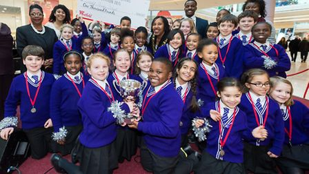 The choir from Leopold Primary School with �1,000 for winning Best Choir in the Westfield Christmas