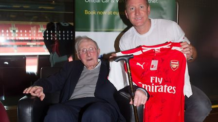 Ernie Crouch with Ray Parlour at Emirates Stadium, before the Arsenal v West Ham game in August. Pic