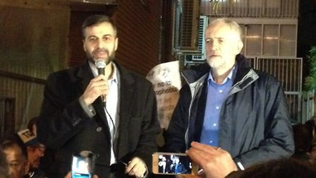 Finsbury Park Mosque chairman Mohammed Kozbar introduces Islington North MP and Labour leader Jeremy